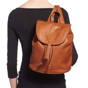 Sole Society Brown Faux Leather Tassel Backpack